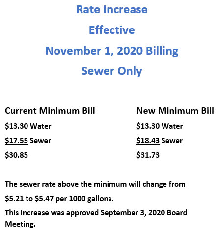 Sewer Rate Increase Nov 2020
